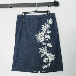 Ann Taylor Denim Skirt Floral